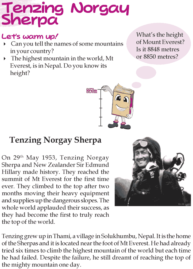 Grade 3 Reading Lesson 14 Biographies - Tenzing Norgay Sherpa