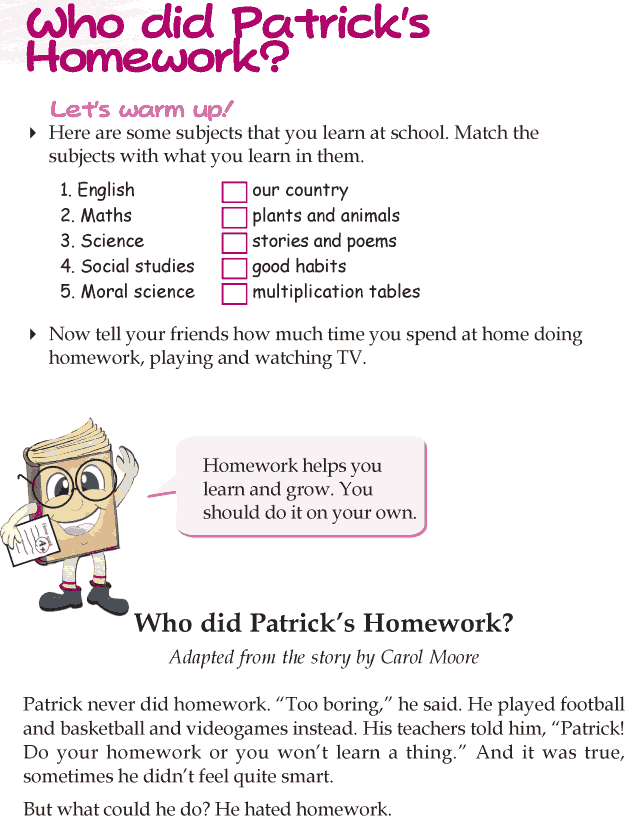 Grade 3 Reading Lesson 2 Short Stories - Who Did Patricks Homework