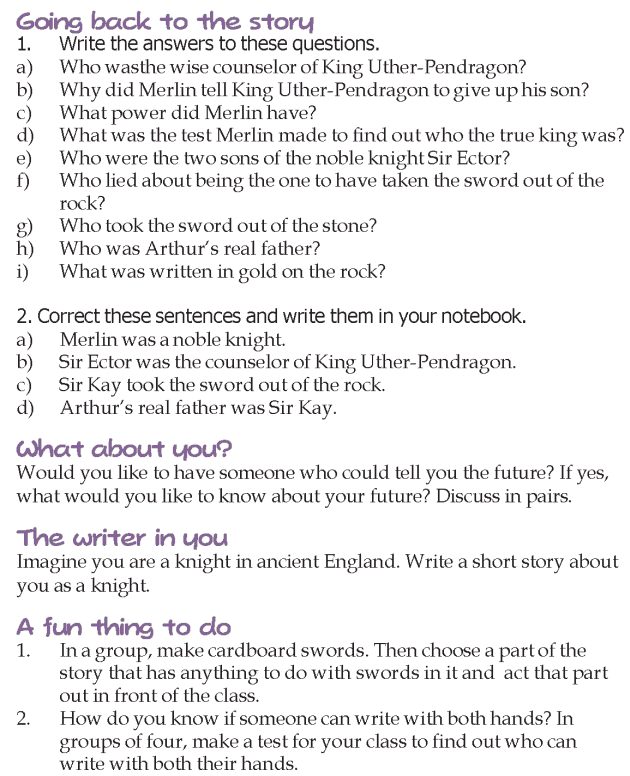 Grade 4 Reading Lesson 21 Myths And Legends - How Arthur Became King (5)