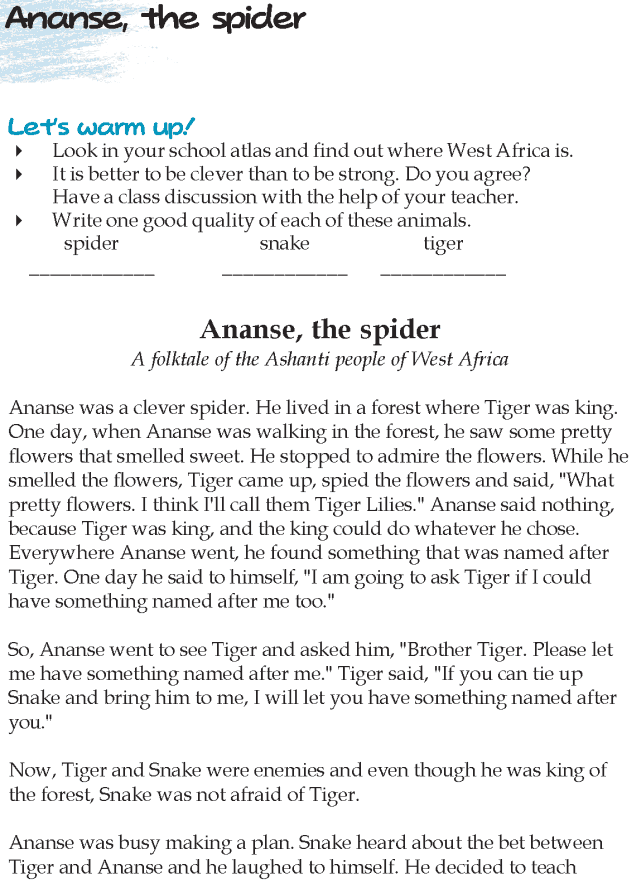 Grade 5 Reading Lesson 12 Fables And Folktales - Ananse, The Spider