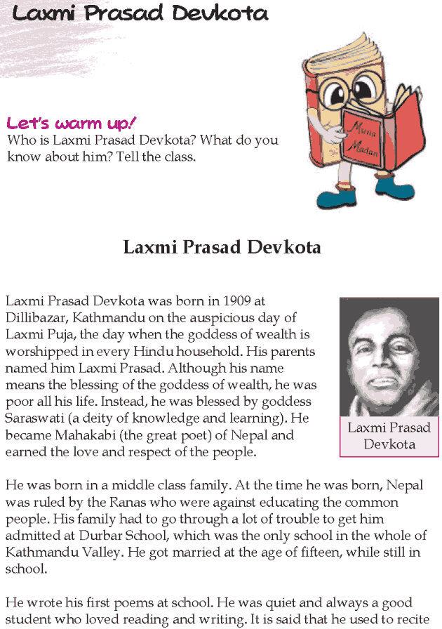 Grade 5 Reading Lesson 14 Biographies - Laxmi Prasad Devkota