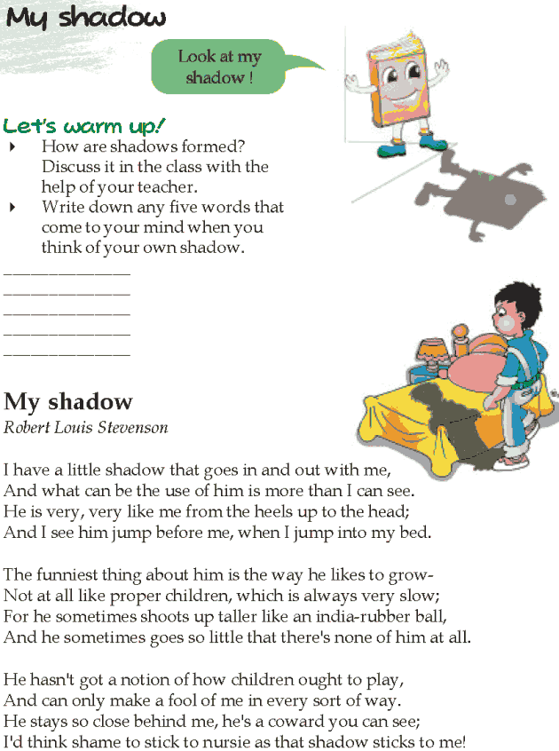 Grade 5 Reading Lesson 2 Poetry - My Shadow