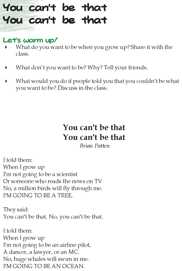 Grade 5 Reading Lesson 3 Poetry - You Can't Be That You Can't Be That
