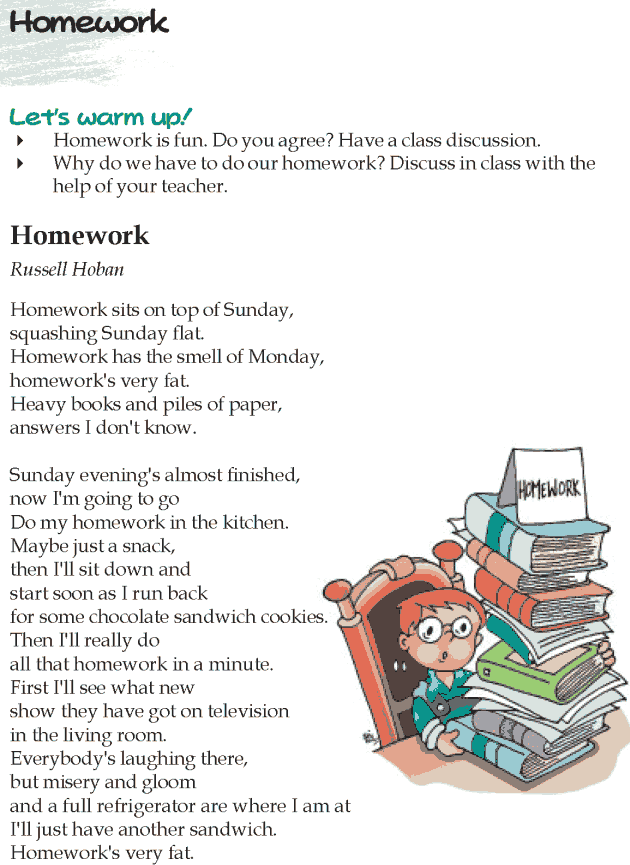 Grade 5 Reading Lesson 4 Poetry - Homework