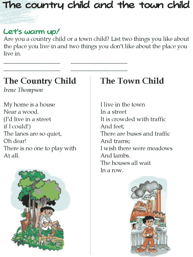 Grade 5 Reading Lesson 6 Poetry - The Country Child And The Town Child