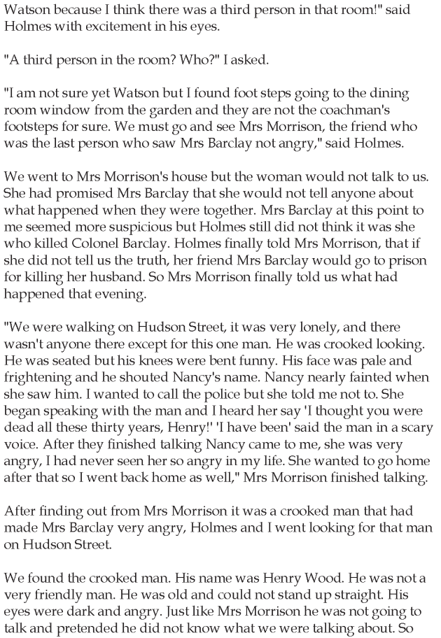 Grade 5 Reading Lesson 9 Mystery - Sherlock Holmes The Adventure Of The Crooked Man (3)