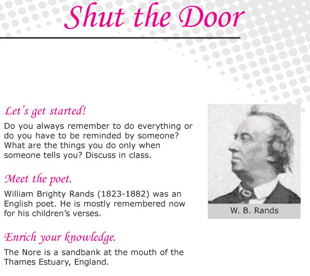 Grade 6 Reading Lesson 2 Poetry - Shut The Door