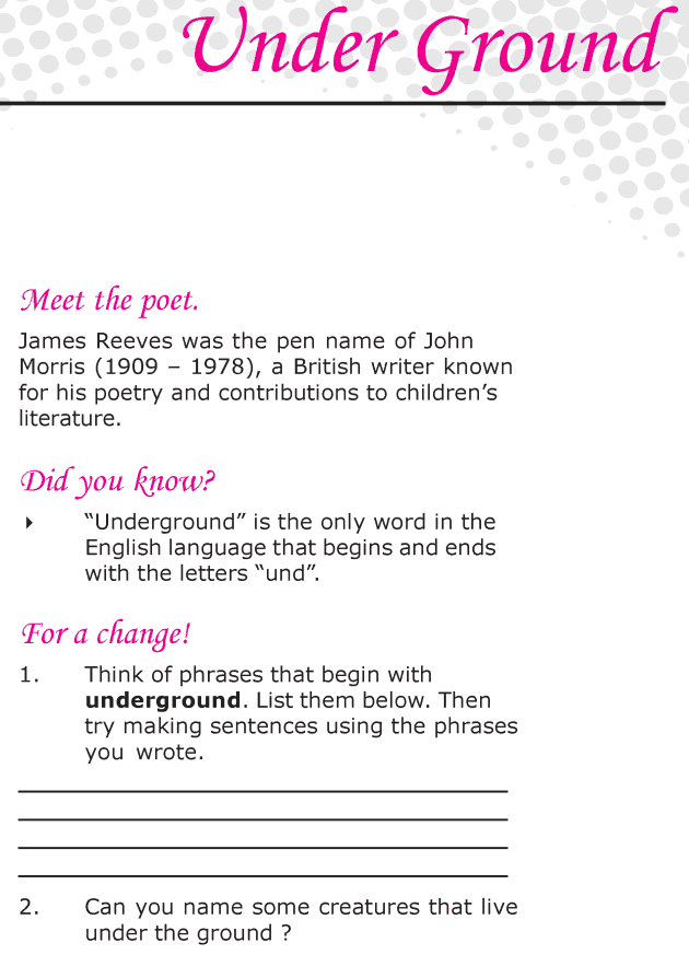 Grade 6 Reading Lesson 3 Poetry - Under Ground