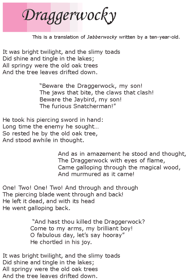Grade 6 Reading Lesson 4 Poetry - Jabberwocky (4)