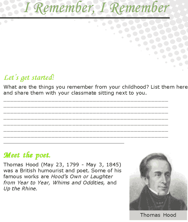 Grade 7 Reading Lesson 10 Poetry - I Remember, I Remember