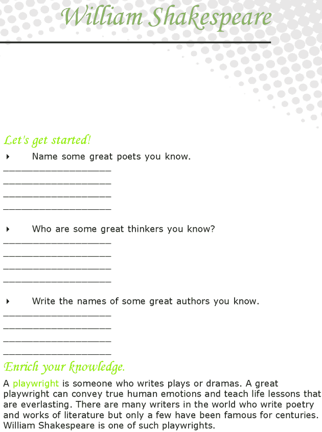 Grade 7 Reading Lesson 12 Biographies - Shakespeare