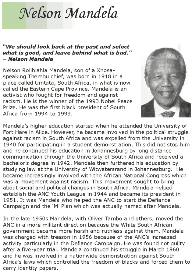 Grade 7 Reading Lesson 14 Biographies - Nelson Mandela (1)