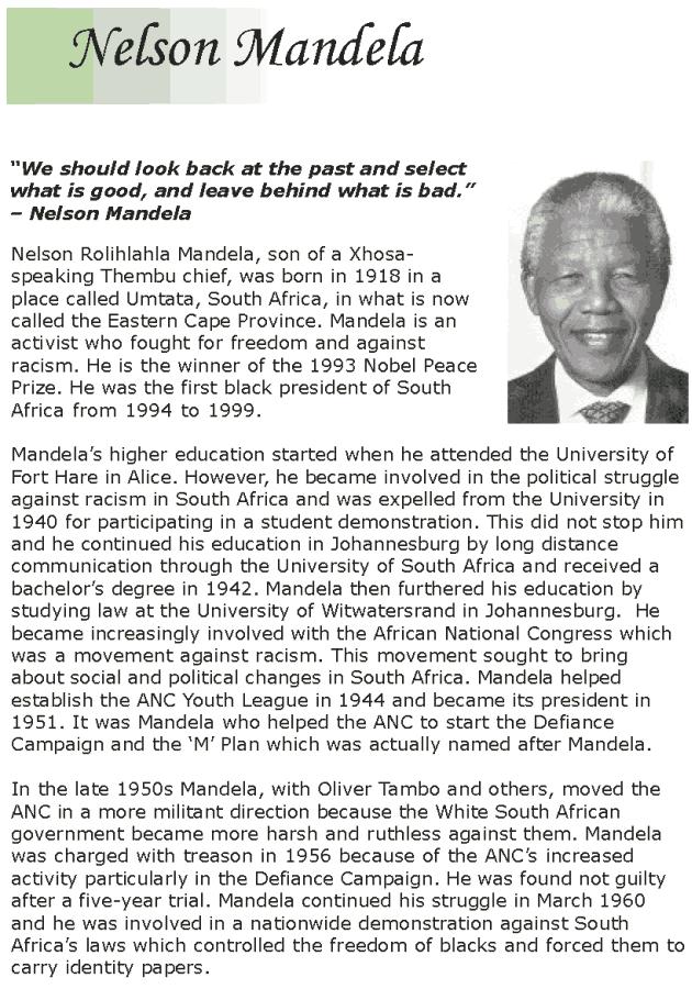 Grade 7 Reading Lesson 14 Biographies - Nelson Mandela (1)
