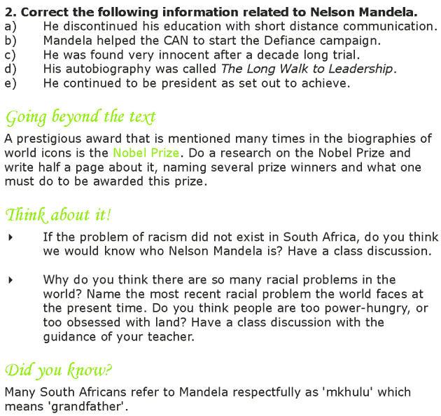 Grade 7 Reading Lesson 14 Biographies - Nelson Mandela (4)