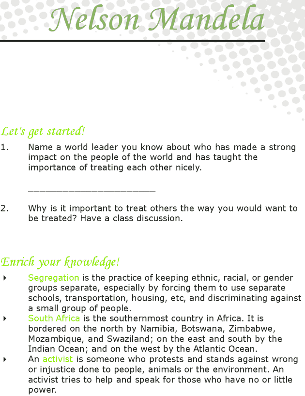 Grade 7 Reading Lesson 14 Biographies - Nelson Mandela