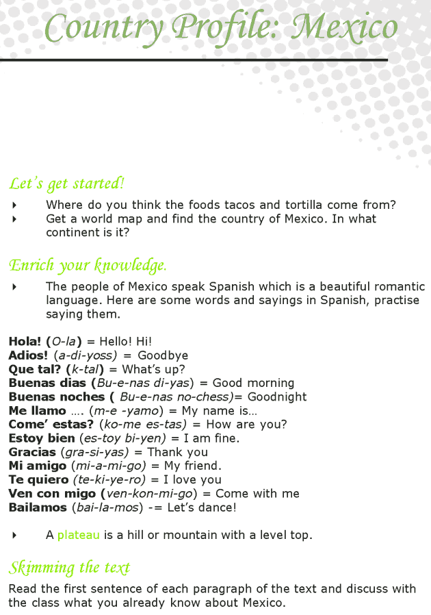 Grade 7 Reading Lesson 18 Nonfiction - Country Profile - Mexico