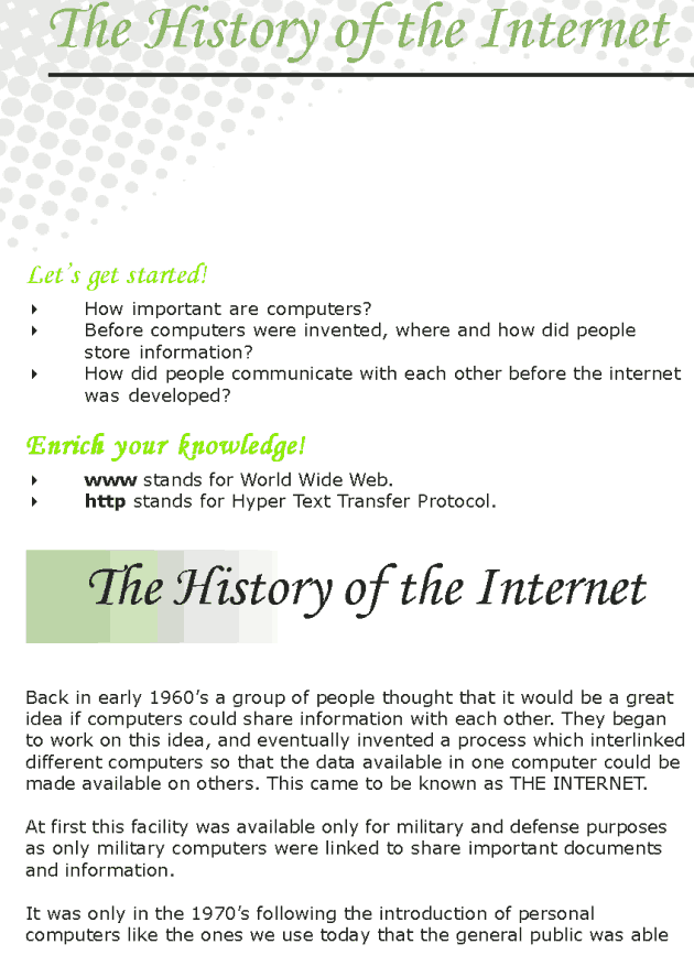 Grade 7 Reading Lesson 19 Nonfiction - The History Of Internet