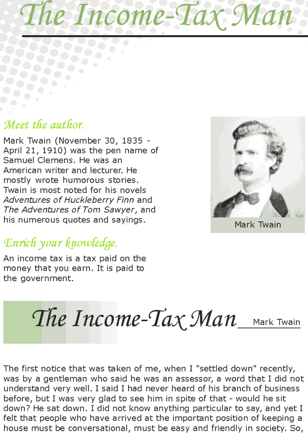 Grade 7 Reading Lesson 2 Short Stories - Income Tax Man