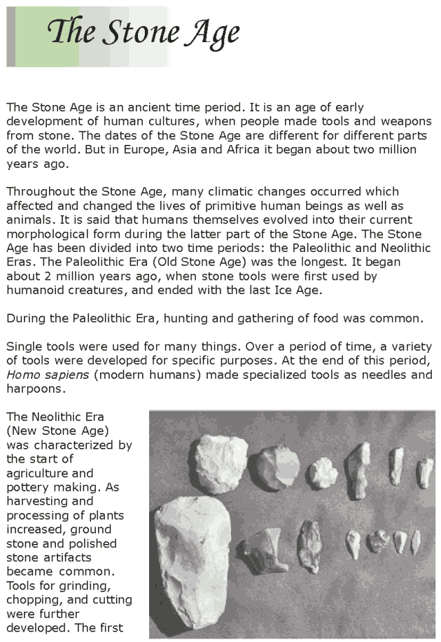 Grade 7 Reading Lesson 20 Nonfiction - The Stone Age (1)
