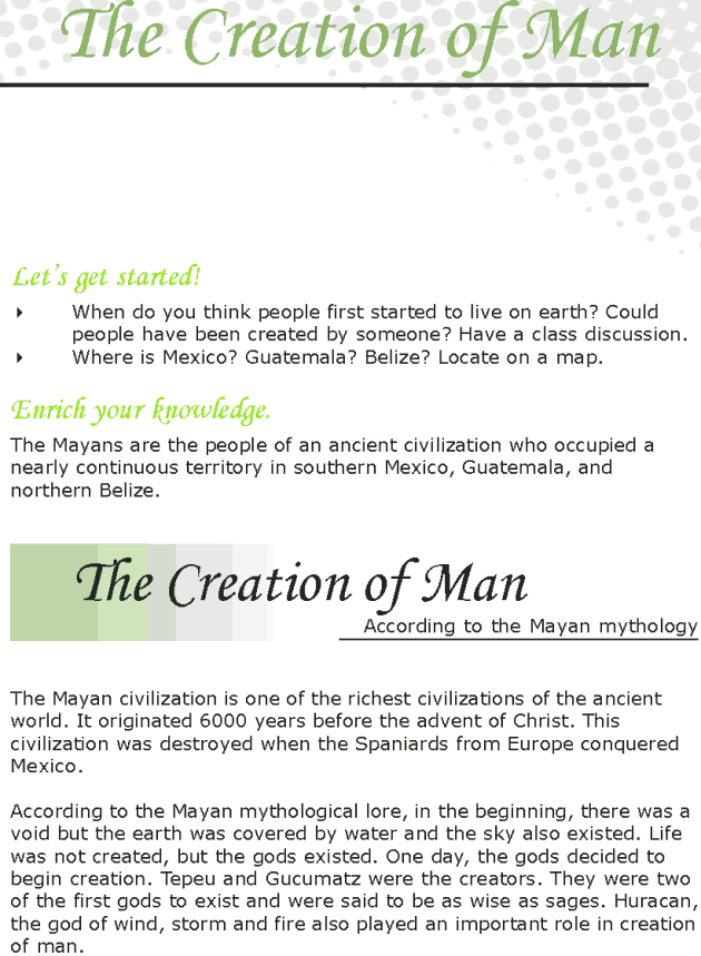 Grade 7 Reading Lesson 23 Myths And Legends - The Creation Of Man