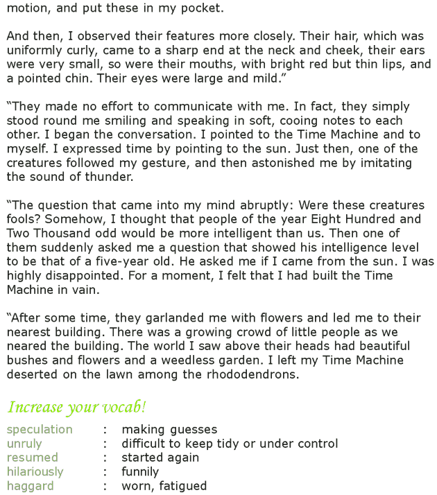 Grade 7 Reading Lesson 24 Science Fiction - The Time Machine (4)