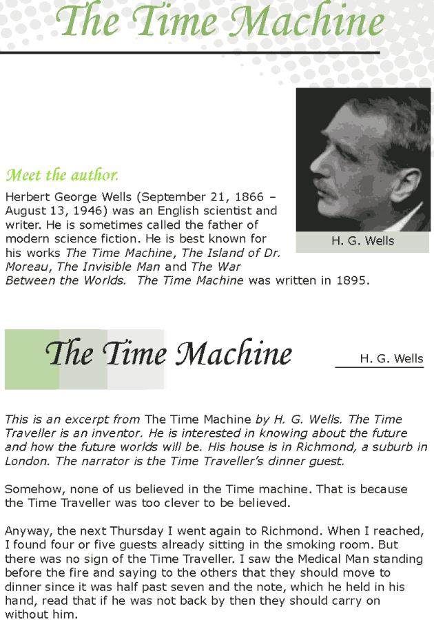 Grade 7 Reading Lesson 24 Science Fiction - The Time Machine