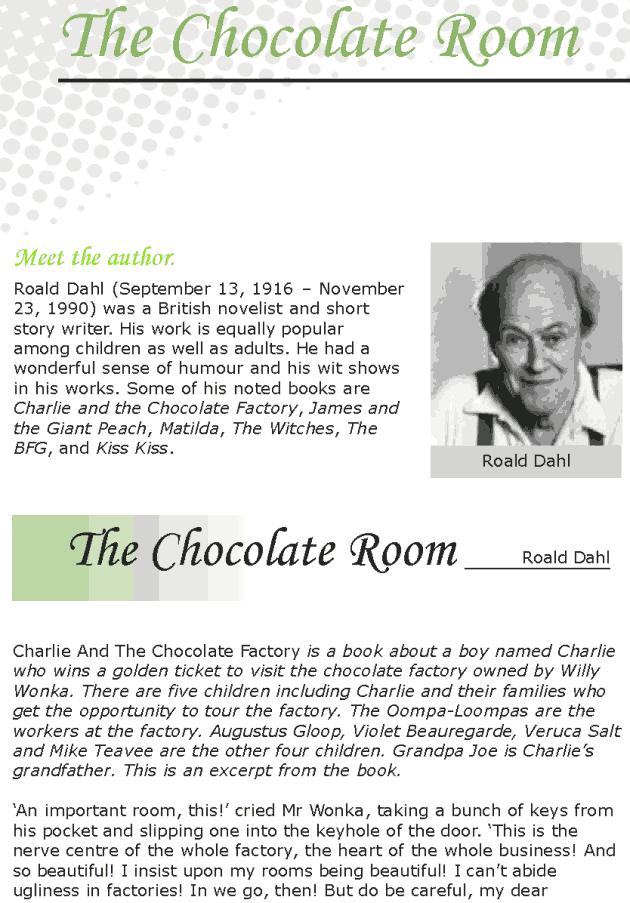 Grade 7 Reading Lesson 4 Fantasy - The Chocolate Room