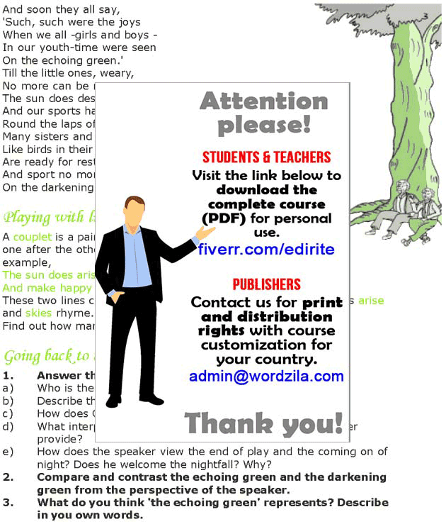Grade 7 Reading Lesson 5 Poetry - The Echoing Green (1)