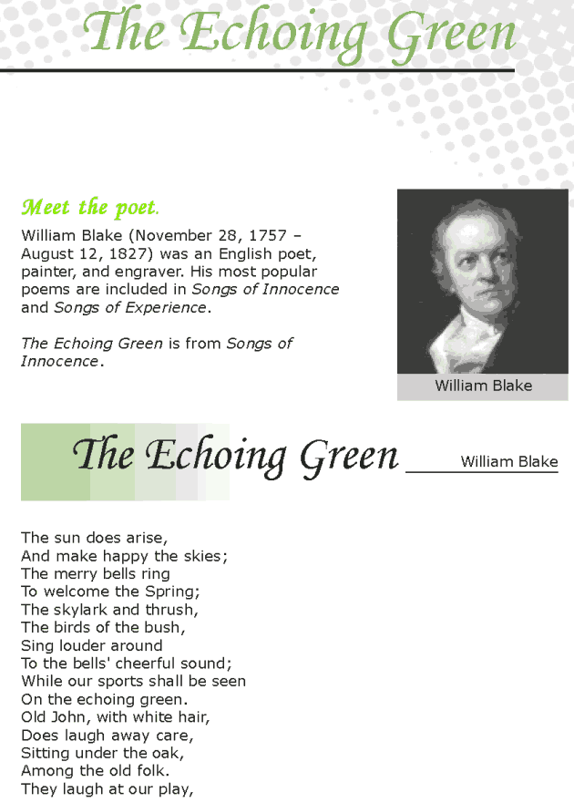 Grade 7 Reading Lesson 5 Poetry - The Echoing Green