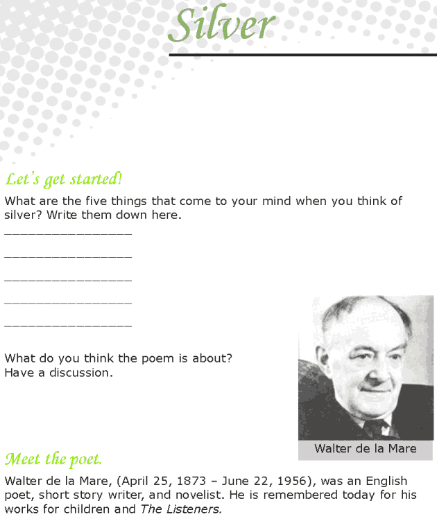 Grade 7 Reading Lesson 6 Poetry - Silver