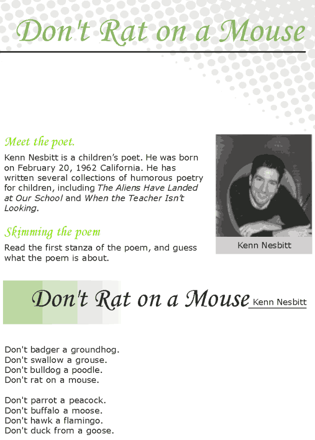 Grade 7 Reading Lesson 8 Poetry - Don't Rat On A Mouse
