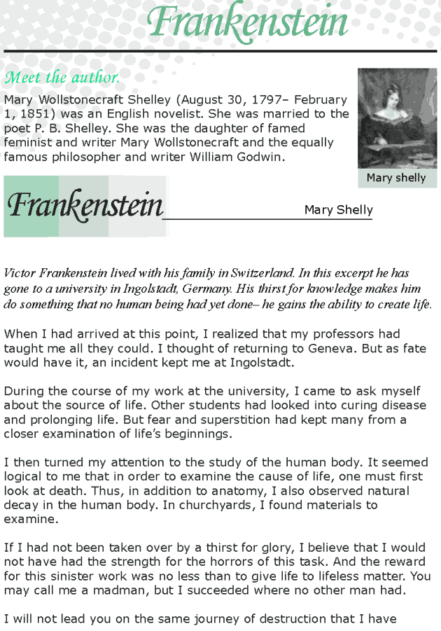 Grade 8 Reading Lesson 1 Classics - Frankenstein
