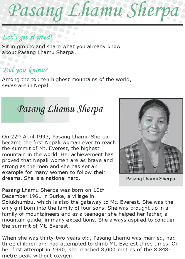 Grade 8 Reading Lesson 10 Biographies - Pasang Lhamu Sherpa