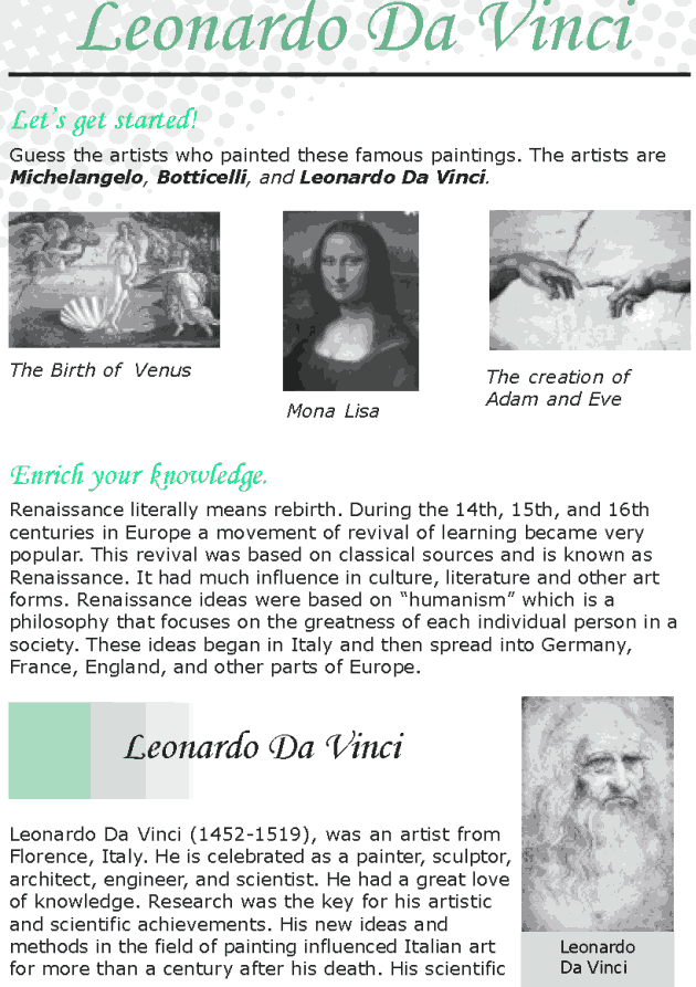 Grade 8 Reading Lesson 11 Biographies - Leonardo Da Vinci