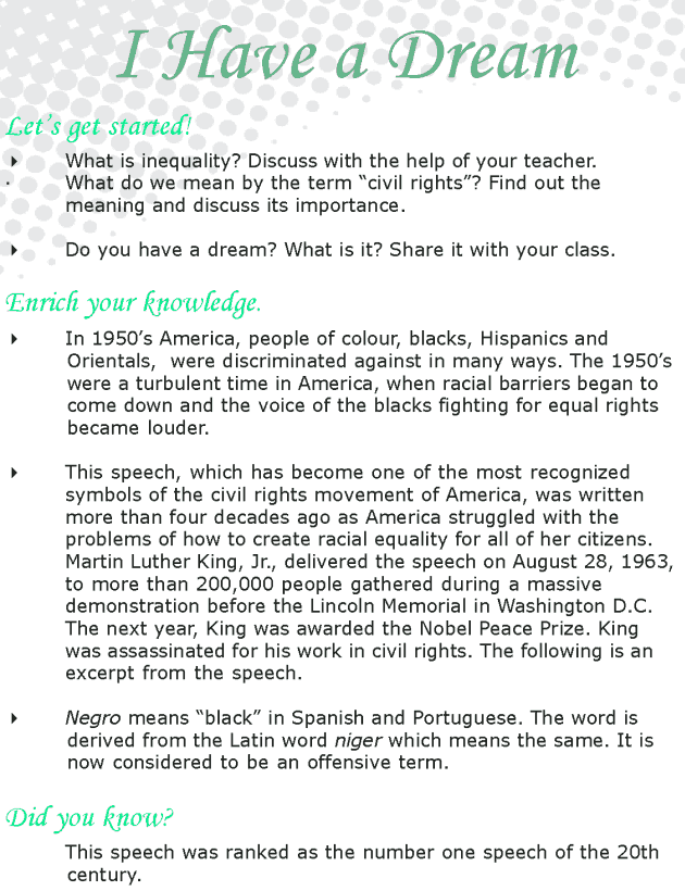 Grade 8 Reading Lesson 13 Speech - I Have A Dream