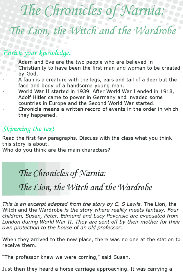 Grade 8 Reading Lesson 14 Fantasy - The Chronicles Of Narnia - The Lion The Witch And The Wardrobe