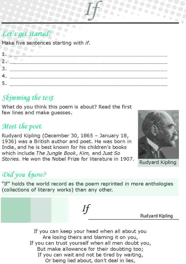 Grade 8 Reading Lesson 15 Poetry - If
