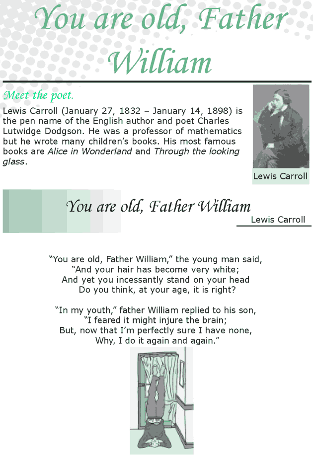 Grade 8 Reading Lesson 18 Poetry - You're Old, Father William