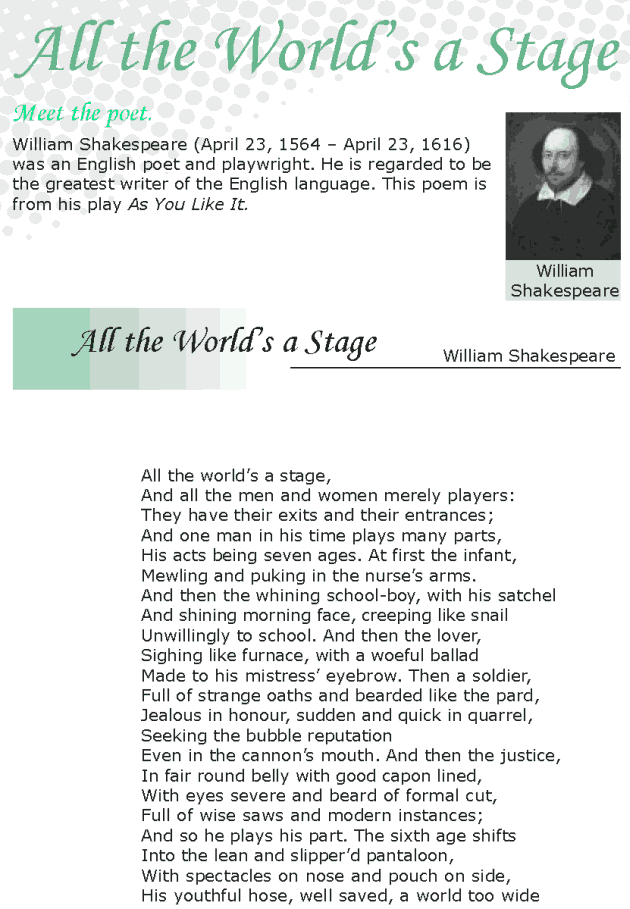 Grade 8 Reading Lesson 19 Poetry - All The World's A Stage