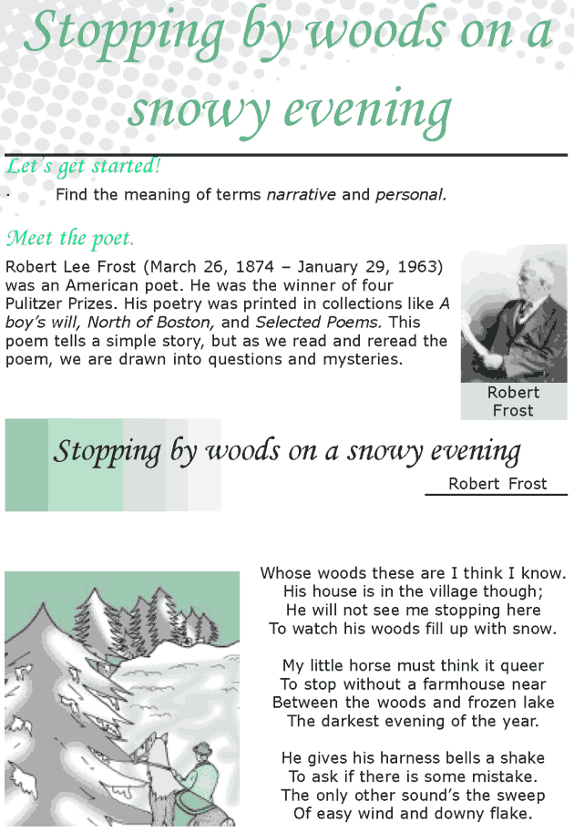 Grade 8 Reading Lesson 20 Poetry - Stopping By Woods On A Snowy Evening