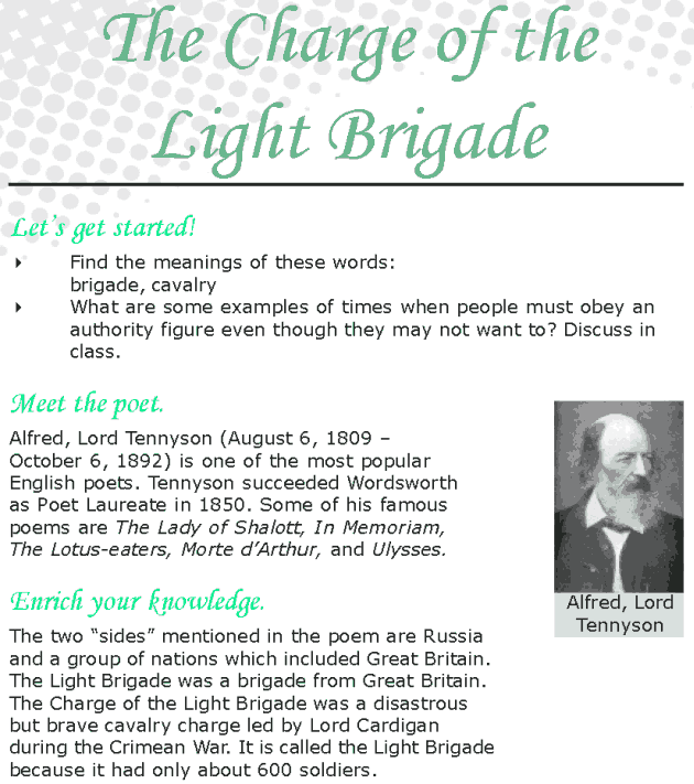 Grade 8 Reading Lesson 21 Poetry – The Charge of the Light Brigade