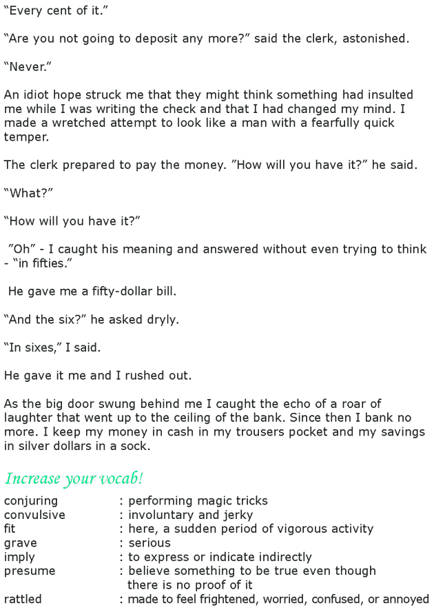 Grade 8 Reading Lesson 23 Short Stories - My Bank Account (3)