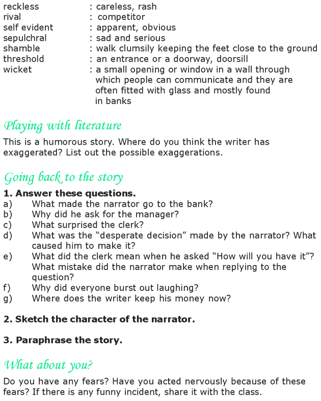 Grade 8 Reading Lesson 23 Short Stories - My Bank Account (4)