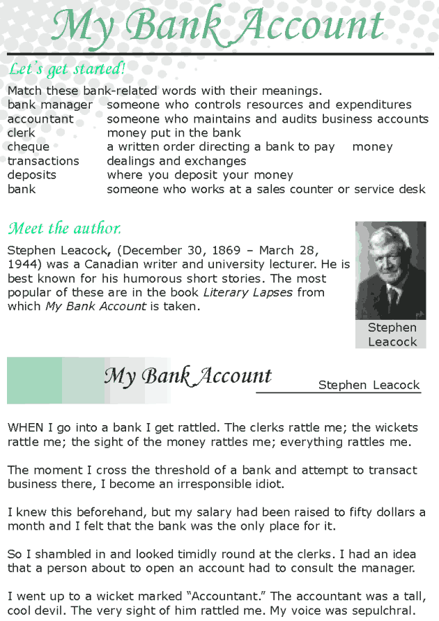 Grade 8 Reading Lesson 23 Short Stories - My Bank Account