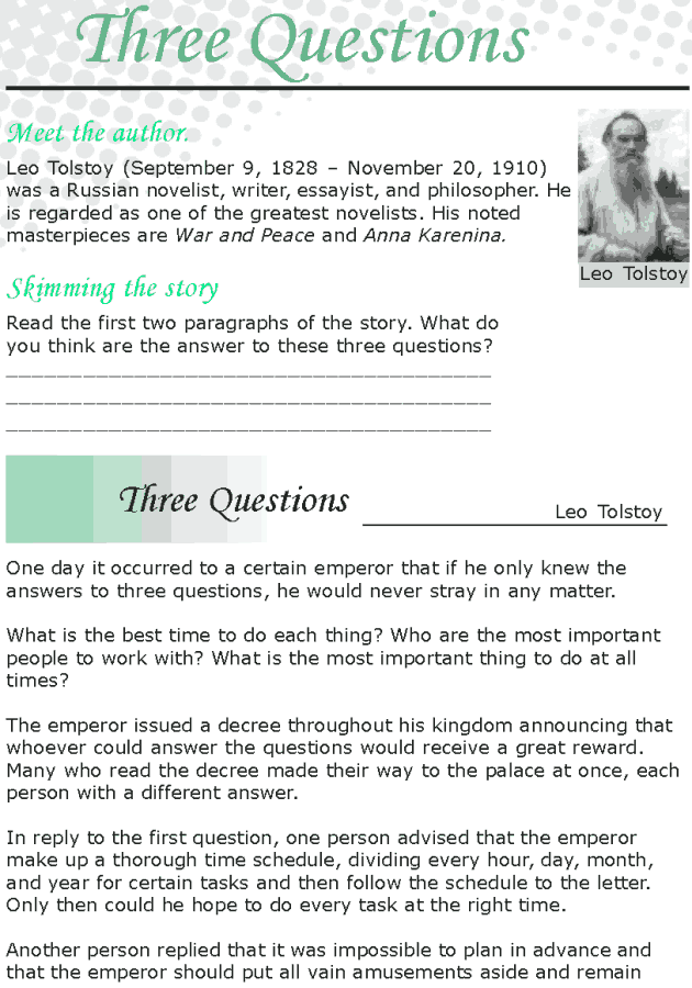Grade 8 Reading Lesson 24 Short Stories - Three Questions