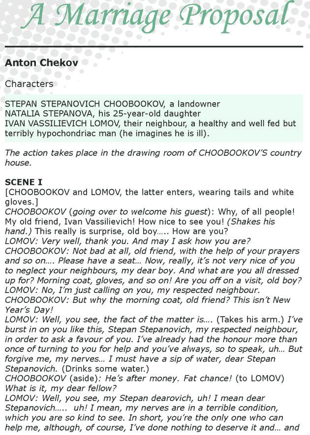 Grade 8 Reading Lesson 26 Play - A Marriage Proposal