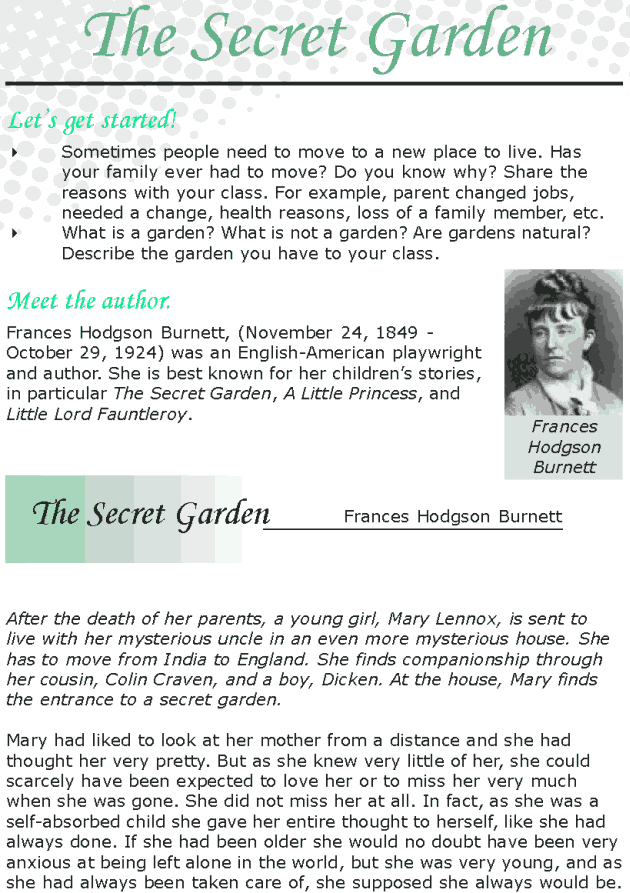 Grade 8 Reading Lesson 3 Classics - The Secret Garden