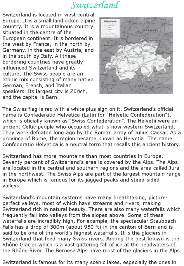 Grade 8 Reading Lesson 4 Nonfiction - Country Profile - Switzerland (1)