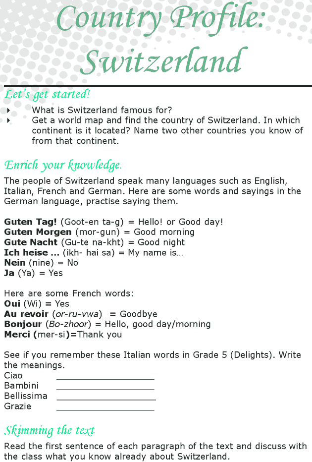 Grade 8 Reading Lesson 4 Nonfiction - Country Profile - Switzerland