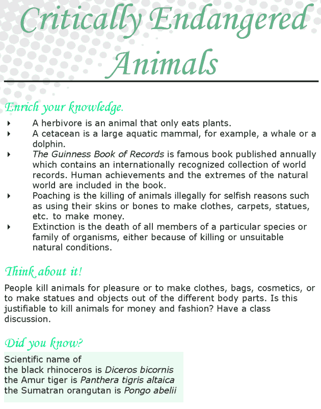 Grade 8 Reading Lesson 6 Nonfiction - Critically Endangered Animals